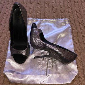 Giuseppe Zanotti Silver Leather Peeptoe Heels